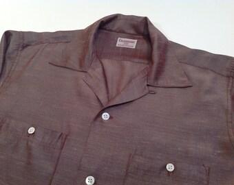 1950's Silky Flecked Shirt / Rayon Acetate Blend /Mocha Brown with Flecks / Loop Collar / Mens Size Medium
