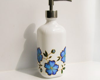 Glass soap dispenser - painted white soap or lotion pump with blue flowers, floral design, stainless steel pump