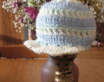 Hand Crocheted Baby Boy Pastel Newsboy Hat | Baby Hat | Newsboy Hat | Baby Shower Gift - Blue, Yellow and Green - Size 3 to 6 Months