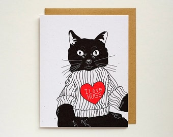I Love Hugs - Greeting Card - Kitty - Cat - A2