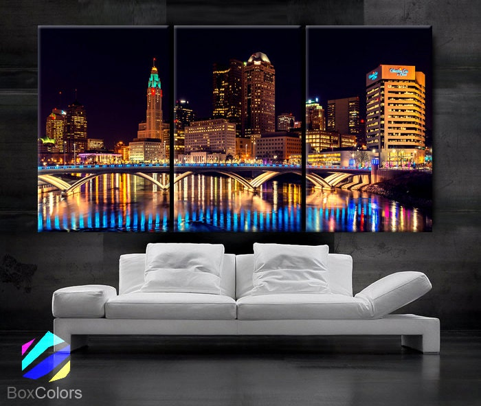 Large Framed Wall Art New York City Landscape Sunset: LARGE 30x 60 3 Panels Art Canvas Print Columbus