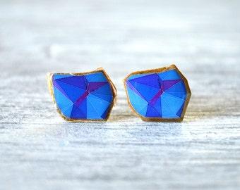 geometric gold studs , navy blue earrings , teenage girl gifts , teenager gifts , teen stud girls