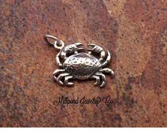 Crab Charm, Crab Pendant, Sterling Silver Crab Charm, Beach Charm, Beach Pendant, Ocean Charm, Ocean Pendant, PS01281