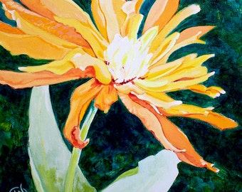 "A Burst of Orange Flower Original Botanical Painting Acrylic on Canvas 10""x10"""