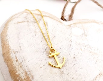 Tiny Gold Anchor Charm Necklace
