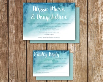 Watercolor/Ombré Wedding Invitations - A7 - Hand painted Invitations - 3 Color Choices