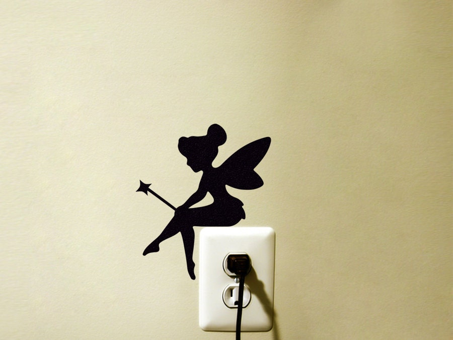 Fairy Fabric Wall Decal Tinker Bell Silhouette Velvet Wall Sticker Kids Room Wall Art