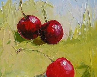 "Cherry Painting original Art fruits  Oil Original painting Chery berry 5х7"" Wall hanging Home and kitchen decor"