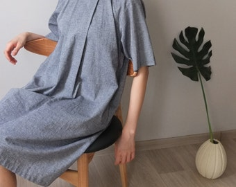 simple a-line linen/cotton origami-pleated dress