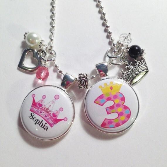 3rd BIRTHDAY GIRL Charm NecklacePRINCESS By