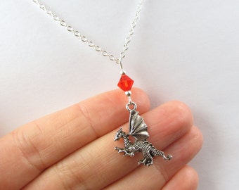Dragon Necklace- choose a color, Dragon Jewelry, Dragon Gift, Silver Dragon Necklace, Dragon Charm Necklace, Red Dragon, Blue Dragon, Dragon