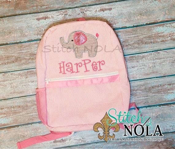 Seersucker Backpack with Elephant, Seersucker Diaper Bag, Seersucker School Bag, Seersucker Bag, Diaper Bag, School Bag, Book Bag, Backpack
