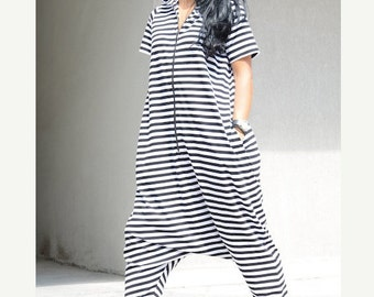 Summer romper, cotton overall, maxi jumpsuit, stripe jumpsuit, plus size jumpsuit, cotton jumpsuit, jumpsuit, women's jumpsuit, women onesie