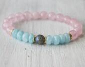 Labradorite, Aquamarine, Rose Quartz, Healing Bracelet, Intention Bracelet, Energy Bracelet, Yoga Beads, Wrist Mala - deep meditation