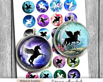 Unicorns 1 inch 25mm 30mm 1.5 inch printable images for Bottlecaps Pendants Scrapbooking Digital Collage Sheet Instant Download