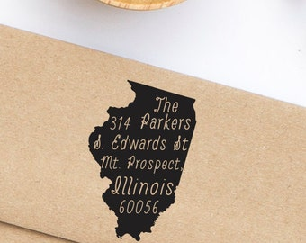 Custom Address Stamp, Illinois State Pride Address Stamp, Return Address Stamp Style No. 96