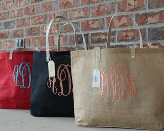 ONLY 19.98!!!!  Monogram Jute Tote Burlap Bag, MudPie Brand, Bridesmaid Gift, Sorority