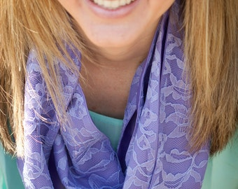 Lavendar Lace Infinity Scarf, Lace Scarf, Fashion Scarf, Purple Scarf, Lavendar Scarf, Purple Lace, Infinity Loop, Lacy Scarf, Spring Scarf