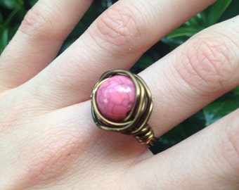 Pink Wire Wrapped Rings