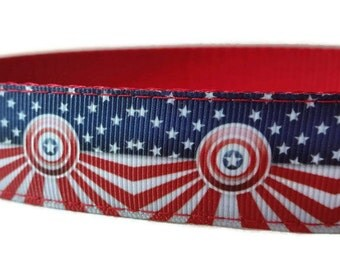 """Stars and Stripes Banner 4th of July Red Nylon Dog Collar 