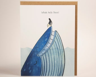 Whale Hello There! Thinking of you! Greeting Card. (Blank Inside)