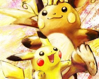 Pichu, Pikachu, Raichu - Pokemon Poster Print