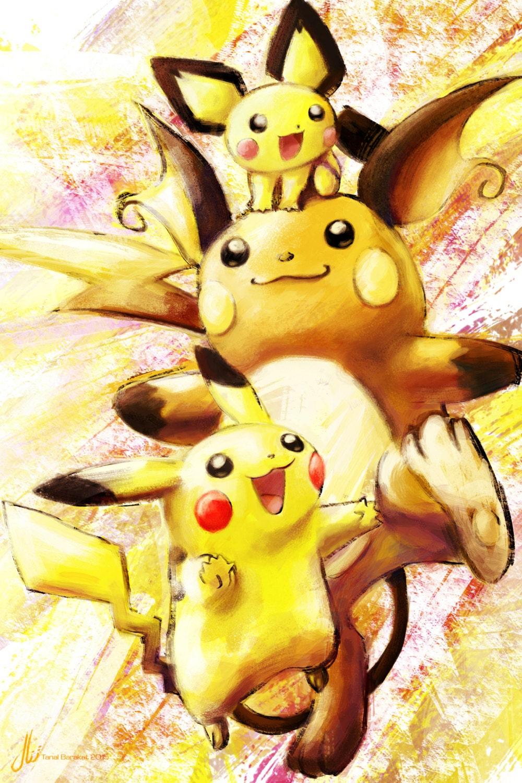 Pichu Pikachu Raichu Pokemon Poster PrintPichu Pikachu Raichu