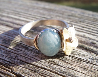 Aquamarine Ring in Sterling Silver with Gold Wire wrapped Vermeil Flower.