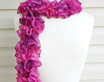 Ruffle Scarf, Pink Scarf, Fuchsia Scarf, Sequence Scarf, Frilly Scarf, Spring Thru Fall Scarf, Accessories, Ladies Wear