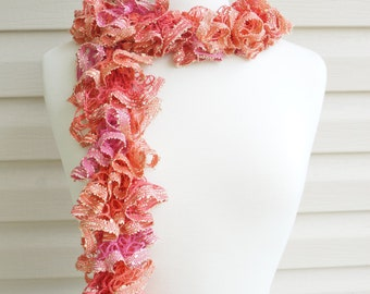 Ruffle Scarf, Multi Hued Orange and Pink, Sequence Scarf, Frilly Scarf, Spring Thru Fall Scarf, Accessories, Ladies Wear