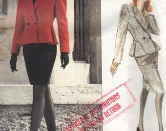Vintage Vogue Sewing Pattern 2173- Vogue Designer Original Genny Misses' Jacket & Skirt size 12 uncut