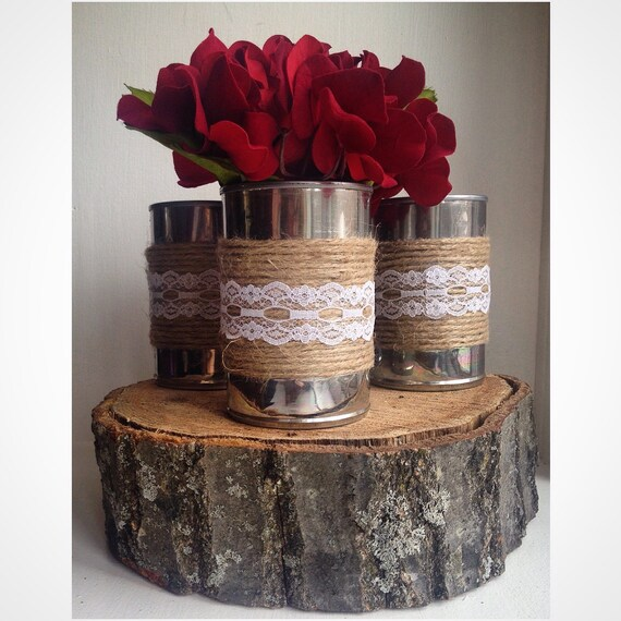 Shabby Chic Wedding Decoration Ideas: Items Similar To Set Of 3 Shabby Chic Tin Can Centerpiece