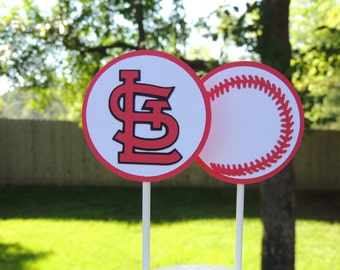 St. Louis Cardinals cupcake toppers. Baseball cupcake toppers.