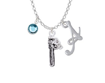 Chainsaw Charm Necklace - Personalized Initial Jewelry with Crystal - Chainsaw Jewelry NC-Channel-C5532-SmGelato-F2301