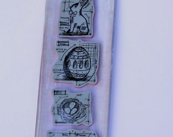 Tim Holtz Stampers Anonymous, Mini Blueprints Stamps, Easter Stamps, Tim Holtz Easter Bunny Stamps