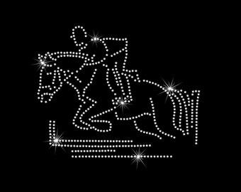 Horse Jumping Equestrian Iron on HotFix Rhinestone Bling Heat Transfer