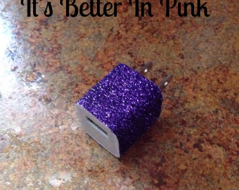 Purple Glitter USB Wall Charger