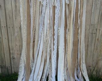 Burlap Lace Backdrop, 6' - Burlap Wedding Garland, Hippie Backdrop ~ Gypsy Backdrop ~ Boho Backdrop long ~ Window Door Curtain ~ Bohemian