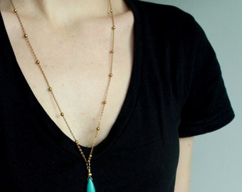 Turquoise Jewelry Turquoise Point Necklace Layering Necklace turquoise spike necklace boho jewelry bohemian jewelry gold turquoise necklace
