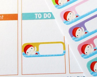 Swimming Label Stickers for Erin Condren Planner, Filofax, Plum Paper