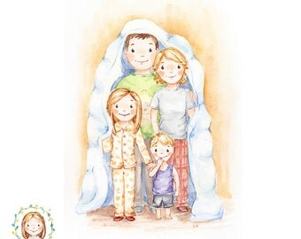 Family of Four Portrait - Custom Family Portrait - Handmade Custom Watercolour Illustration
