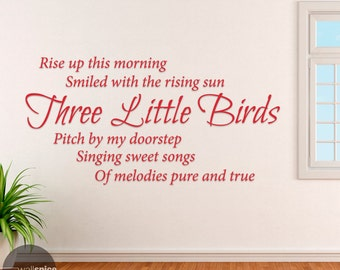 Bob Marley Three Little Birds Song Lyrics Reggae Music Vinyl Wall Decal Sticker