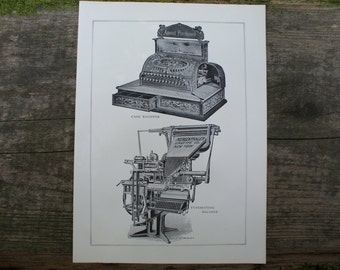 1904 - Cash Register Lithograph - Beautiful B&W Plate from Encyclopedia Britannica - Vintage Cash Register - Antique Print with Great Detail