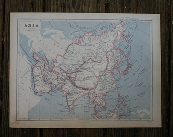 1880 - Asia Map - Large Antique Map - Beautiful Old Map of Asia - Large Vintage Map - 1800s Appleton Co Map