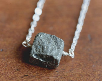 Raw Pyrite Necklace   Simple Necklace   Wire Wrapped Jewelry Handmad   Rough Stone Necklace   Raw Stone Jewelry   Pyrite Cube Necklace