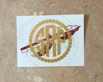 Monogrammed Spear Vinyl Decal ~ FSU