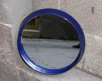 Vintage blue plastic design mirror, from the 70's