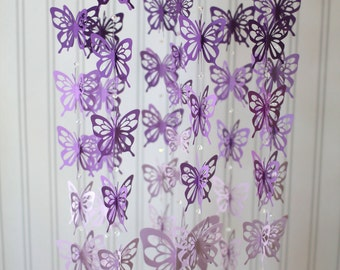 Butterfly mobile purple ombre' or you can CHOOSE YOUR COLORS! nursery mobile, paper mobile, Purple ombre' butterfly mobile, butterflies