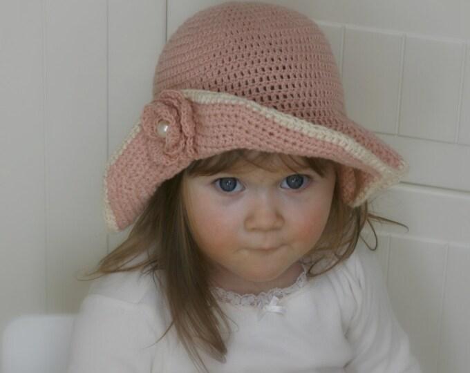 CROCHET PATTERN sun brim hat with flower Hella (baby / toddler/ child/ woman sizes)