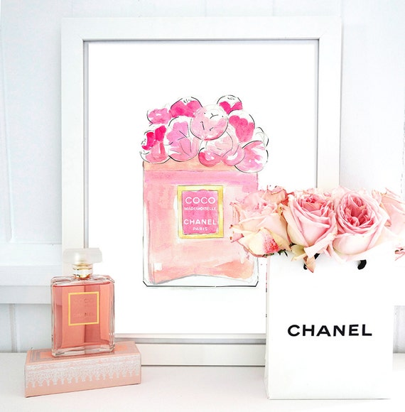 Coco Chanel Mademoiselle Perfume. Watercolor By CouturePrintery